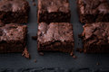 Homemade Delicious Chocolate Brownies. closeup chocolate cake Royalty Free Stock Photo