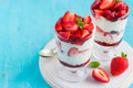 Homemade dessert with fresh strawberry,  cream cheese and strawb Royalty Free Stock Photo