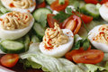 Homemade deviled egg salad closeup Stock Photo