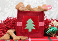 Homemade dog cookies in a decorative Christmas bag. Royalty Free Stock Photo