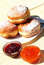 Homemade doughnuts with jam filling Royalty Free Stock Photo