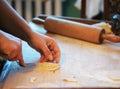 Homemade dumplings woman making in the kitchen Stock Photo