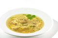 Homemade egg drop soup on a wite background Stock Photos