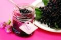 Homemade elderberry confiture Stock Photo