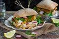 Homemade fish burger Royalty Free Stock Photo