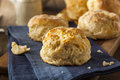 Homemade flakey buttermilk biscuits ready to eat Stock Images