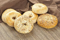 Homemade Fresh Whole Grain Bagel Stock Photos