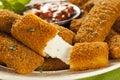 Homemade fried mozzarella sticks with marinara sauce Stock Image