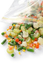 Homemade frozen vegetables in freezer bag Stock Photography
