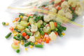 Homemade frozen vegetables in freezer bag Stock Images