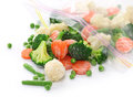Homemade frozen vegetables on white background Royalty Free Stock Photos