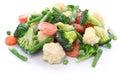 Homemade frozen vegetables on white background Stock Photo