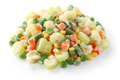 Homemade frozen vegetables on white background Stock Photography