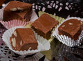 Homemade fudge home made nut in candy cups Stock Photo