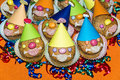 Homemade funny clown muffins for birthday Stock Photo