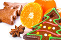 Homemade gingerbread in christmas tree shape with oranges and spices Royalty Free Stock Photos