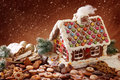 Homemade gingerbread house Royalty Free Stock Photo
