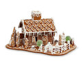 Homemade gingerbread house cottage isolated on white Stock Image