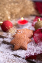 Homemade gingerbread star cookies with tealight Royalty Free Stock Photos