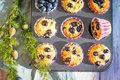 Homemade gluten free almond flour blueberry muffins in the baking tray Royalty Free Stock Photo