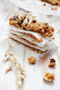 Homemade granola bars with fresh muesli and raisins Royalty Free Stock Photos