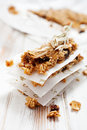 Homemade granola bars with fresh muesli and raisins Royalty Free Stock Image