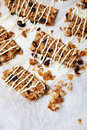 Homemade granola bars with fresh muesli and raisins Stock Photo