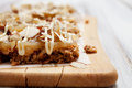 Homemade granola bars with fresh muesli and raisins Stock Images