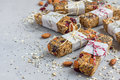 Homemade granola energy bars, healthy snack, copy space Royalty Free Stock Photo