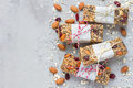 Homemade granola energy bars, healthy snack, top view, copy space Royalty Free Stock Photo