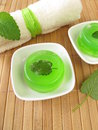 Homemade green soap with lemon balm Stock Photos