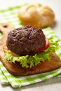 Homemade grilled hamburger on plate see my other works in portfolio Royalty Free Stock Photography