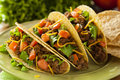 Homemade ground beef tacos with lettuce tomato and cheese Royalty Free Stock Photos
