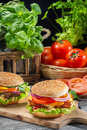 Homemade hamburger fresh vegetables old wooden table Stock Image