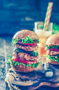 homemade hamburger with fresh vegetables.Tonned photo Royalty Free Stock Photo