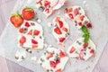 Homemade healthy frozen strawberry yogurt bark. Royalty Free Stock Photo