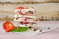 Homemade healthy frozen strawberry yogurt bark. Royalty Free Stock Photo