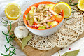 Homemade healthy meal squid salad salad with squid on table Stock Photos