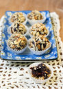 Homemade healthy sweets rolled in nuts and seeds Stock Photography