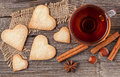 Homemade heart shaped cookies gift with tea for valentines day h Royalty Free Stock Photo
