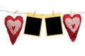 Homemade hearts with blank cards Royalty Free Stock Photography