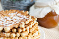 Homemade honey waffles - fragrant dessert Royalty Free Stock Photo