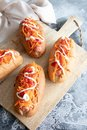 Homemade hot dogs with sausage and carrot Royalty Free Stock Photo