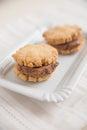 Homemade ice cream sandwich with chocolate ice cream Royalty Free Stock Photo