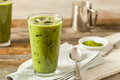 Homemade Iced Matcha Latte Tea Royalty Free Stock Photo