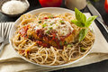 Homemade italian chicken parmesan with cheese and sauce Stock Images