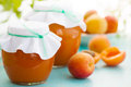 Homemade jam in a jar fresh apricots and apricot still life Stock Photo
