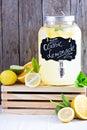 Homemade lemonade in beverage dispencer with fresh lemons Stock Image