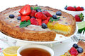 Homemade lime cream fruit tart with berries Royalty Free Stock Photo