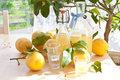 Homemade limoncello made from ripe organic lemons Royalty Free Stock Image